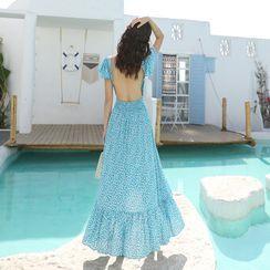 Pensacola - 碎花短袖露背沙灘裙