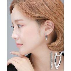 Miss21 Korea - Full-Rhinestone Hoop Earrings