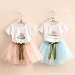 Seashells Kids - Kids Set: Short-Sleeve Watermelon Print T-Shirt + Mesh Skirt