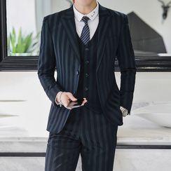 Bay Go Mall - Set: Striped Blazer + Vest + Dress Pants