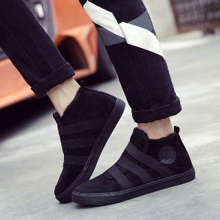 Solejoy - Strap Applique Fleece-Lined Slip-Ons