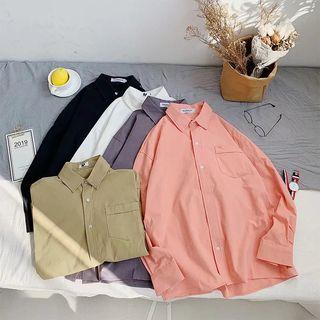 Wewewow - Plain Long-Sleeve Shirt