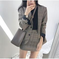 ZENME - Set: Plaid Blazer + Mini Skirt