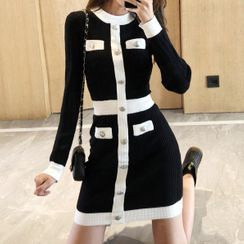 WEGGE - Contrast Trim Long-Sleeve Mini Bodycon Knit Dress
