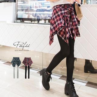 Czarine - Inset Plaid Skirt Leggings