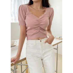 chuu - Ruched Cropped Knit Top