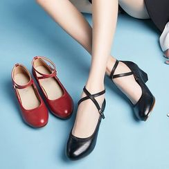 Danceon - Genuine Leather Cross Strap Dance Shoes
