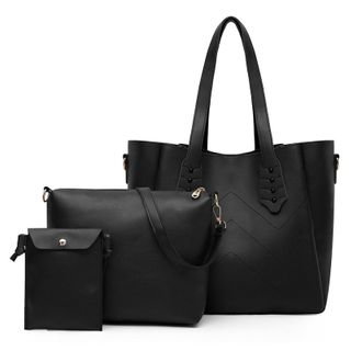 Selinda - Set: Faux Leather Tote Bag + Crossbody Bag + Pouch