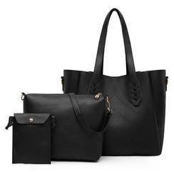 Selinda - Set: Faux Leather Tote Bag + Crossbody Bag + Pouch