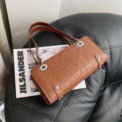Shinian - Plain Faux Leather Handbag