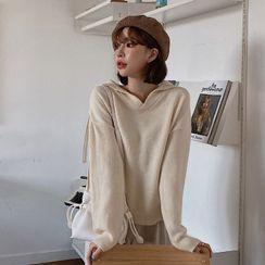MERONGSHOP(メロンショップ) - Sailor-Collar Open-Placket Sweater