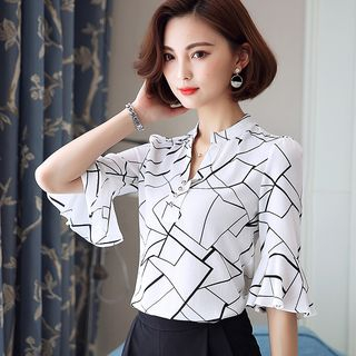 In the Mood - Printed Bell Elbow-Sleeve Mandarin Collar Blouse