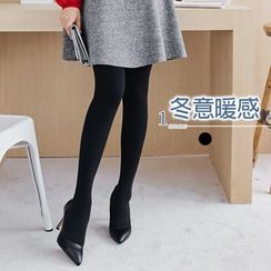 OrangeBear - 九分温暖内刷毛宽版裤头弹性裤袜