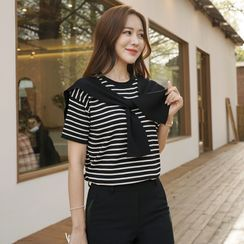 CLICK - Inset Knotted Scarf Stripe Knit Top