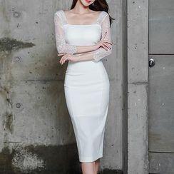 Yilda - 蕾丝拼接长袖塑身连衣中裙
