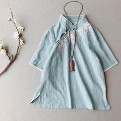 Vateddy - 刺繡中袖麻布襯衫