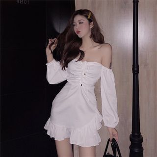 Hevnir - Ruffle Trim Off-Shoulder Mini A-Line Dress