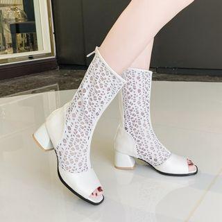 Pretty in Boots - Peep Toe Block Heel Mid Calf Boots