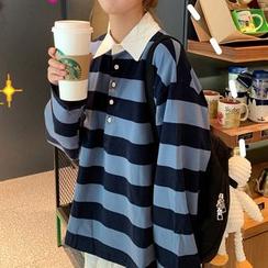Juku Girls - Long-Sleeve Striped Polo Shirt