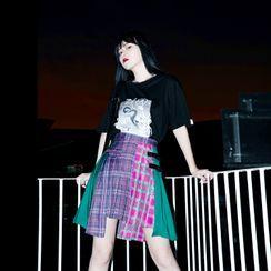 MEOLI - Color Block Plaid A-Line Mini Skirt