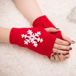 Damasco - Snowflake Knit Fingerless Gloves