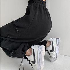 Shira - 爱心刺绣宽松束脚裤