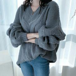 DANI LOVE - Drop-Shoulder Cable-Knit Sweater