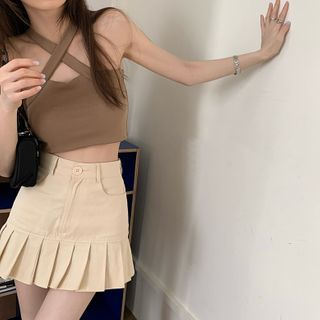 Dute - Cross Strap Camisole Top / Pleated Mini A-Line Skirt