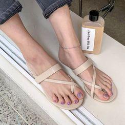 MERONGSHOP - Toe-Loop Strappy Slide Sandals