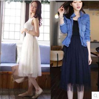 Lacyland - Sleeveless Midi Tulle Dress