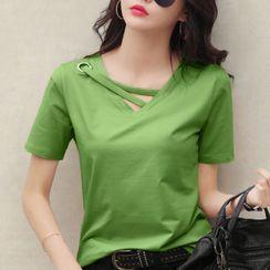santrani - Short-Sleeve Plain Cut-Out T-Shirt
