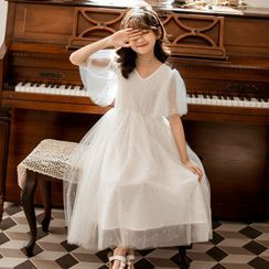 Cuckoo - Kids Elbow-Sleeve Glitter Midi A-Line Mesh Dress