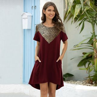 VVIVV - Short-Sleeve Leopard Print Panel Mini T-Shirt Dress