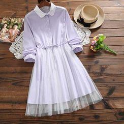 Fancy Show(ファンシーショー) - Long-Sleeve Mesh Panel A-Line Shirt Dress