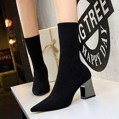 TREL(テレル) - Chunky Heel Short Sock Boots