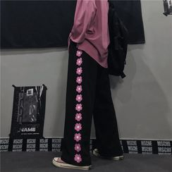 Giuliana - Flower Patterned Straight-Cut Sweatpants