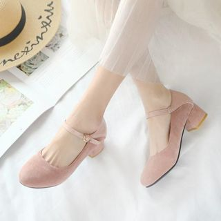 JY Shoes - Chunky-Heel Mary Jane Pumps