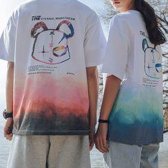Ink Brush - Couple Matching Short-Sleeve Cartoon Print T-Shirt