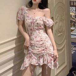 ROCKBABE - Puff-Sleeve Ruffled Drawstring Floral Printed Chiffon Dress