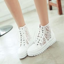 Shoes Galore - High-Top Lace Panel Sneakers