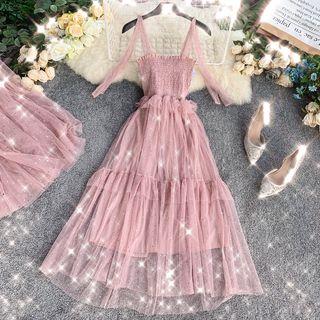 Lucuna - Sheer Panel Strappy Midi A-line Dress