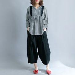 Clover Dream - 3/4-Sleeve Lace Trim Checker Blouse
