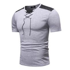 Sheck - Short-Sleeve Lace-Up T-Shirt