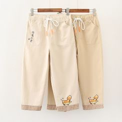PANDAGO - Animal Embroidery Wide-Leg Pants