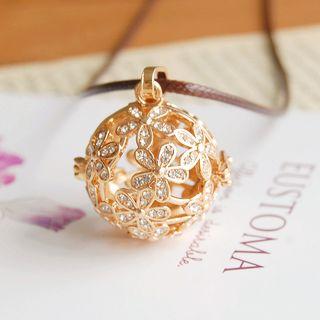 Nisen - Rhinestone Flower Copper Fragrance Sachet Pendant Necklace