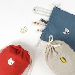 iswas - ''Tailor Bird'' Series Embroidered Bucket Pouch - (S)