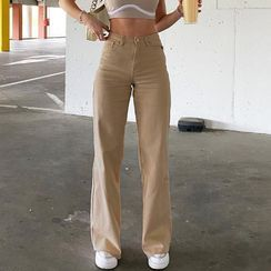 Genrovia - 纯色高腰直筒裤