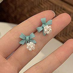 JAMIEL - Bow Faux Pearl Dangle Earring