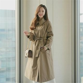 Styleberry - Double-Breasted Trench Coat with Belt