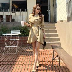 DEEPNY - Belted Ruffle-Hem Trench Dress